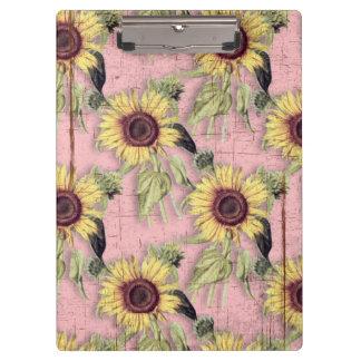 Rustic Autumn Sunflower Pattern Clipboard