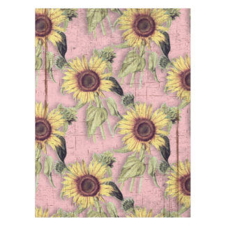 Rustic Autumn Sunflower Pattern Tablecloth