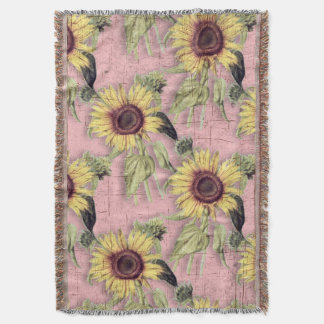 Rustic Autumn Sunflower Pattern Throw Blanket