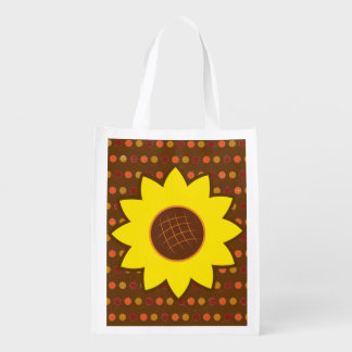 Rustic Autumn Sunflower Reusable Grocery Bags