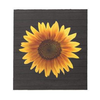 Rustic Autumn Sunflower Wood Texture Notepad