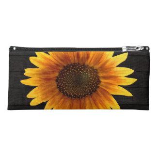 Rustic Autumn Sunflower Wood Texture Pencil Case
