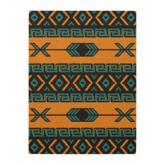 Rustic Aztec Tribal Pattern Southwest Wall Art Wood Canvases
