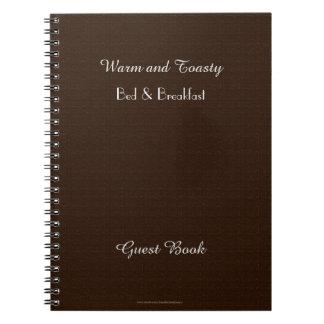 Rustic B&B Guest Book, Faux Dark Brown Burlap Notebook