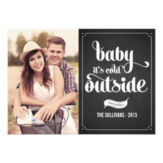 Rustic Baby It's Cold Outside Holiday Photo Card