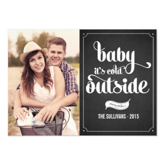 "Rustic Baby It's Cold Outside Holiday Photo Card 5"" X 7"" Invitation Card"