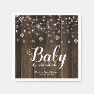 Rustic Baby It's Cold Outside Winter Baby Shower Disposable Napkins