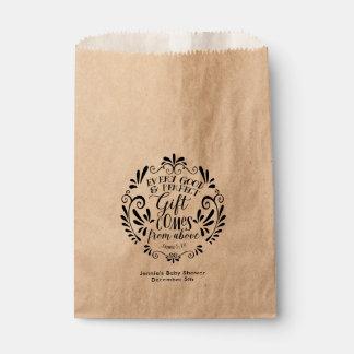 Rustic Baby Shower Favor Bag, Typography Scripture Favour Bag