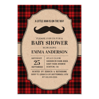 Rustic Baby Shower Invitation for Boy - Mustache