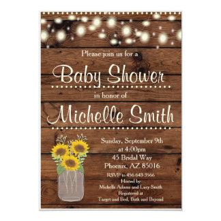 "Rustic Baby Shower Invitation, Mason Jar, Floral 5"" X 7"" Invitation Card"
