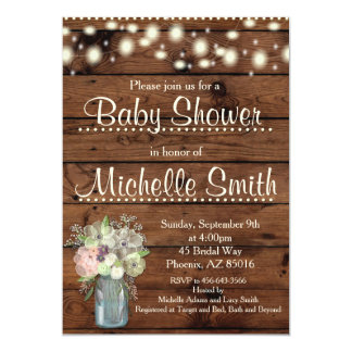 Rustic Baby Shower Invitation, Mason Jar, Floral Card