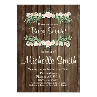 Rustic Baby Shower Invitation, Rose, Floral Card