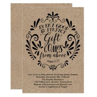 Rustic Baby Shower Invitation, Typography on Kraft Card