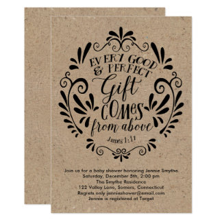 Rustic Baby Shower Invitation, Typography On Kraft Card