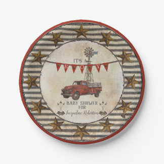 Rustic Baby Shower Vintage Truck Windmill Farm Paper Plate