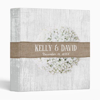 Rustic Baby's Breath Burlap Belt Barn Wedding 3 Ring Binders