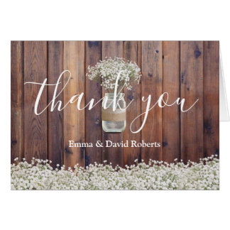 Rustic Baby's Breath Floral Wedding Thank You Card