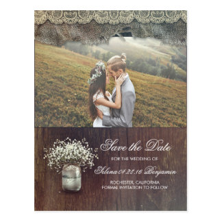 Rustic Baby's Breath Mason Jar Photo Save the Date Postcard