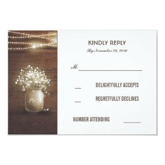 """Rustic Baby's Breath Mason Jar Wedding RSVP Cards 3.5"""" X 5"""" Invitation Card"""