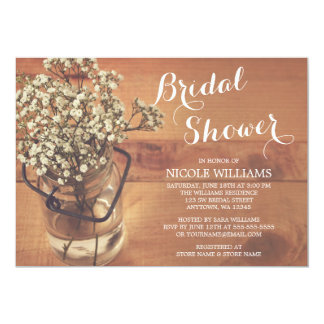 Rustic Baby's Breath Mason Jar Wood Bridal Shower Card