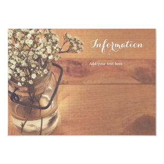 Rustic Baby's Breath Mason Jar Wood Information Card