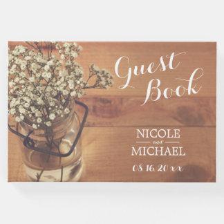 Rustic Baby's Breath Mason Jar Wood Wedding Guest Book