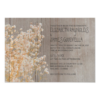 Rustic Baby's Breath Wedding Invitations