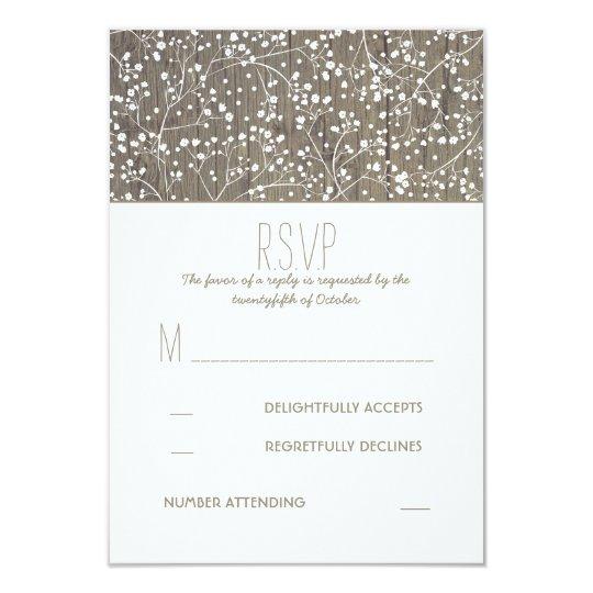 Rustic Baby's Breath Wedding RSVP Card