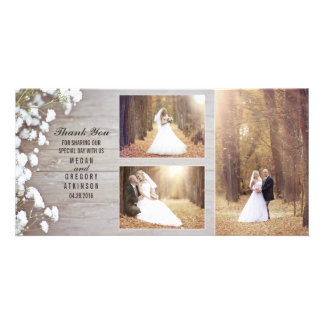 Rustic Baby's Breath Wood Wedding Photo Thank You Photo Card Template