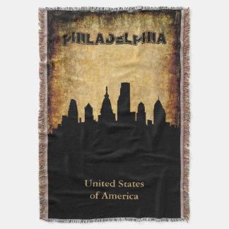 Rustic Background Philadelphia Skyline Throw Blanket