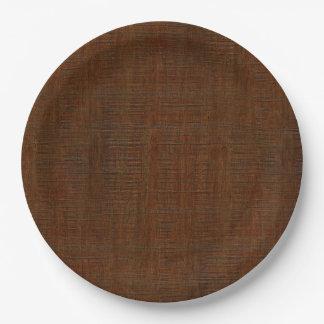 Rustic Bamboo Wood Grain Texture Look 9 Inch Paper Plate