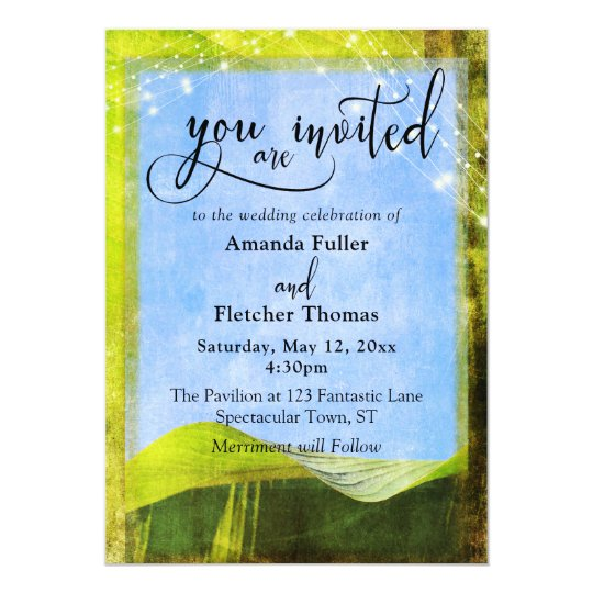 Rustic Banana Leaves with Lights Boho Wedding 2 Card
