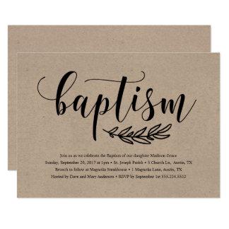 Rustic Baptism Invitation