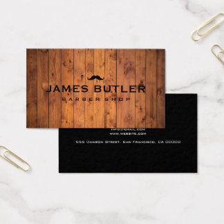 Rustic Barber Shop Wood Business Card