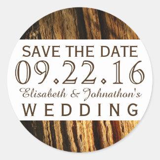 Rustic Bark Wedding Save The Date Classic Round Sticker