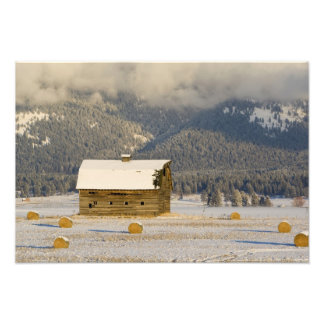 Rustic barn and hay bales after a fresh snow 2 art photo