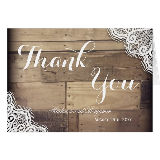 Rustic Barn and Lace Wedding Thank You Cards