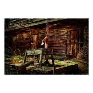 Rustic Barn and Water Pump Poster