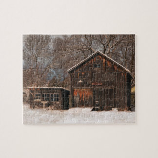 Rustic Barn & Cottage Vintage Snow Scene Jigsaw Puzzle