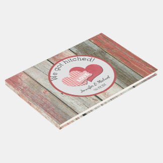 Rustic Barn Hearts We Got Hitched Wedding Guest Book