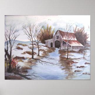 Rustic Barn Landscape Poster