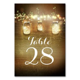 Rustic Barn Lights Mason Jars Wedding Table Cards
