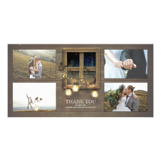 Rustic Barn Mason Jar Lights Wedding Thank You Photo Card