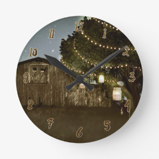 Rustic Barn Night Sky Lights & Mason Jars Round Clock