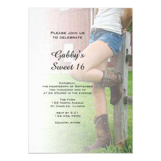 Rustic Barn Party Sweet 16 Invitation