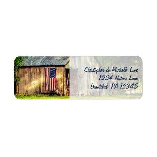 Rustic Barn Patriotic American Flag Address Return Address Label