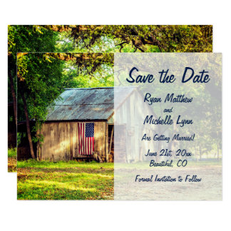 Rustic Barn Patriotic American Flag Save the Date Card