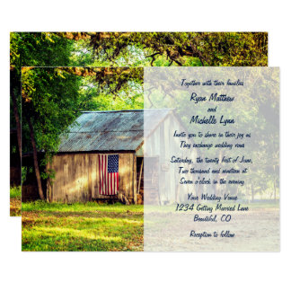 Rustic Barn Patriotic American Flag Wedding Invite