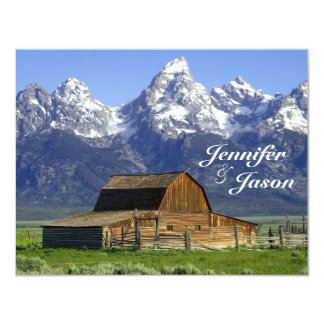 "Rustic Barn Rocky Mountain Wedding Invitations 4.25"" X 5.5"" Invitation Card"