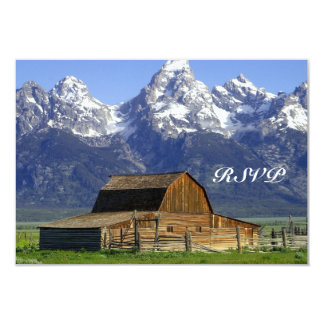 "Rustic Barn Rocky Mountain Wedding RSVP Cards 3.5"" X 5"" Invitation Card"